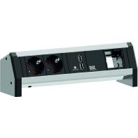 902.0182 - Steckdoseneinheit Desk1 sw,2xSchuko,USB,1xCM 902.0182