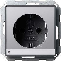 1170203 - SCHUKO mit LED-Leuchte E22 aluminium 1170203