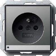 117220 - Steckdose CEBEC mit LED-Le uchte E22 edelstahl 117220