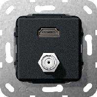 567510 - UP Tragring HDMI und SAT F-Buchse sw matt 567510