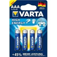 Varta High Energy LR03 AAA batterij (potlood) Alkali-mangaan 1.5 V 4 stuks