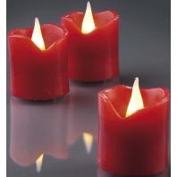 Led-waskaarsen set van 6, rood, 4 cm x 4,2 cm