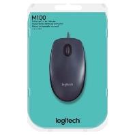 Logitech M100 USB Optisch 1000DPI Ambidextrous Zwart