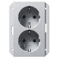 Dubbel stopcontact aluminium Gira