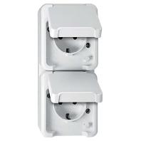 Stopcontact met randaarde en klapdeksel Schneider Electric 4074949 2-voudig spatwaterdicht Polar-wit