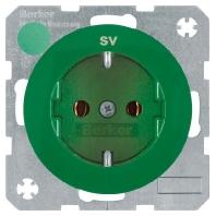 Berker wandcontactdoos randaarde met opdruk R1R3 groen 47432003