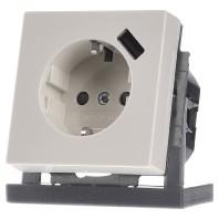 Inbouw stopcontact met usb oplader Creme wit elektrowit