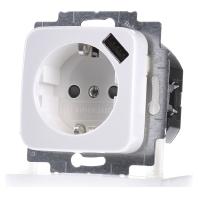 Inbouw stopcontact met usb oplader Wit