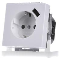 Inbouw stopcontact met usb oplader Wit Luxe