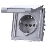 Stopcontact buiten Gira TX 44 met randaarde en klapdeksel aluminium inbouw