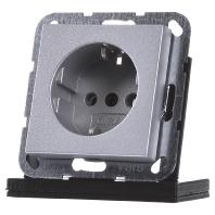 Gira 1-voudige wandcontactdoos met randaarde aluminium