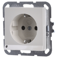 Gira stopcontact met witte LED verlichting kinderveilig creme