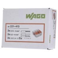 WAGO 221-413 Verbindingsklem flexibel: 0.14-4 mm² massief: 0.2-4 mm² Aantal polen: 3 Inhoud: 50 stuk