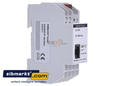 View on the left EIBMARKT N000401 EIB KNX IP Interface PoE, with up to 5 tunneling connections