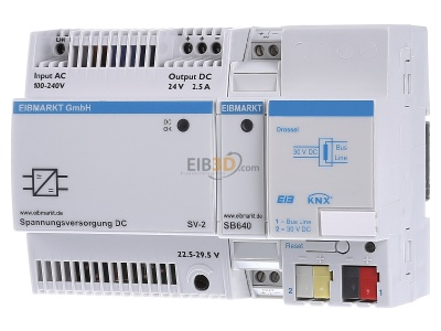 Front view EIBMARKT EIB, KNX Power supply for 1 line, SV-2/DR1