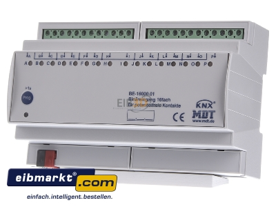 Front view MDT BE-16000.01 EIB/KNX Binary Input 16-fold, 8SU MDRC, Contact Inputs -