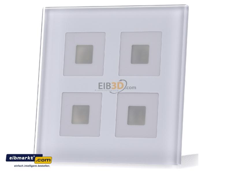 EIB/KNX Glastaster 4-fach Plus, Weiß mit Temperatursensor - BE-GTT4W.01
