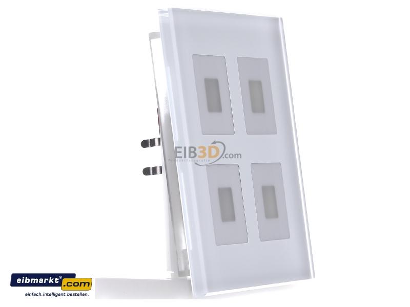 MDT EIB/KNX Glastaster 4-fach Plus, Weiß mit Temperatursensor