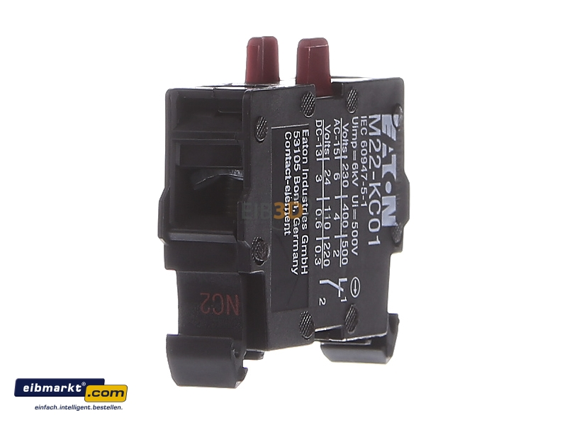 Auxiliary contact block 0 NO/1 NC M22-KC01