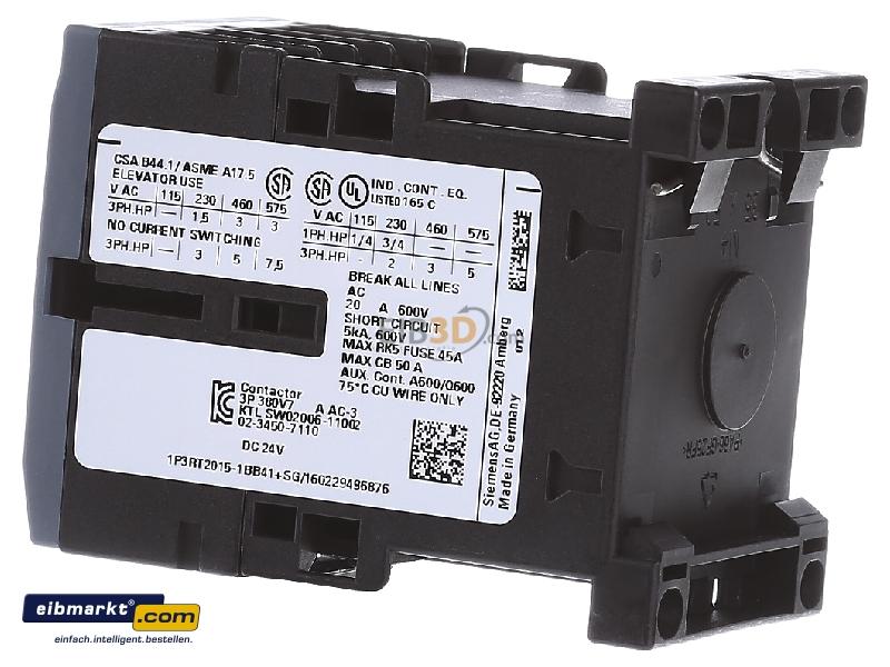 eibmarkt.com - Magnet contactor 7A 24VDC 3RT2015-1BB41