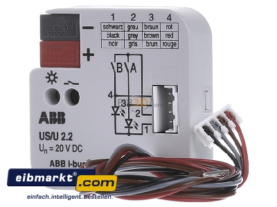 Front view ABB Stotz S&J US/U 2.2 I/O device for bus system 2 In/ 2 Out -