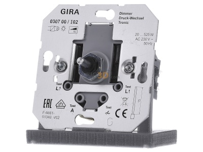 Front view Gira 030700 Dimmer flush mounted 20...520VA 30700